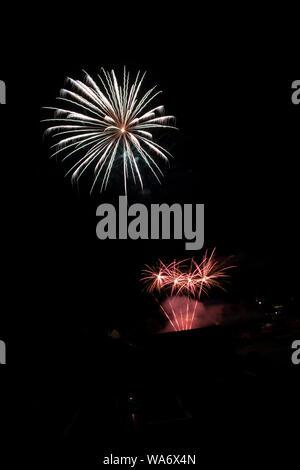 Fireworks exploding on celebration day in France - Stock Photo