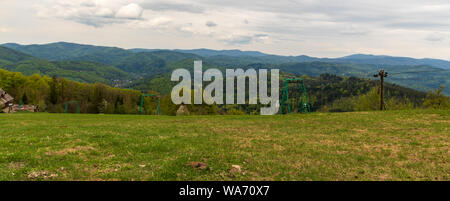 polish part of Beskid Slaski mountains from Wielki Soszow hill on pplish - czech borders during mostly cloudy autumn day - Stock Photo
