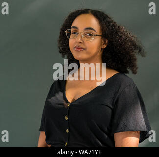 Edinburgh, Scotland, UK, 18 August 2019. Edinburgh International Book Festival. Pictured: Hibaq Osman (London-born Somali writer) in a showcase of the Octavia Poetry Collection, for women of colour founded by Rachel Long in response to their lack of representation in literature - Stock Photo