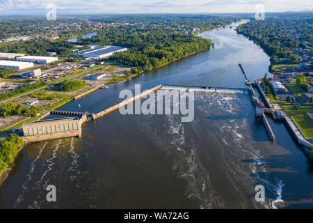 Federal Dam and Federal Lock at Troy, New York, USA - Stock Photo