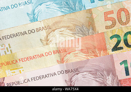 Brazilian real banknotes background. 10, 20, 50, 100 reais brl. Brazilian money, real notes. Macro photo. - Stock Photo