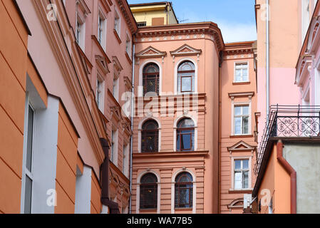 Bydgoszcz, Poland - August 16, 2019: Facade of historic building of Hotel 'Pod Orlem', erected in an eclectic style, referring to the forms of the Rom - Stock Photo