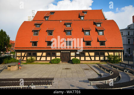 Bydgoszcz Poland - August 16, 2019: Granaries at the Brda River in Old Town of Bydgoszcz - Stock Photo