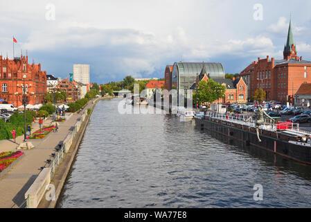 Bydgoszcz Poland - August 16, 2019: Brda River landscape in the Bydgoszcz city center - Stock Photo