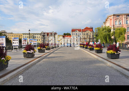 Bydgoszcz Poland - August 16, 2019: Bydgoszcz center with the old town tenements and Mostowa street at the Brda River - Stock Photo