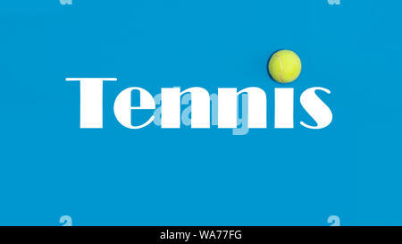 Big tennis ball on blue background - Stock Photo