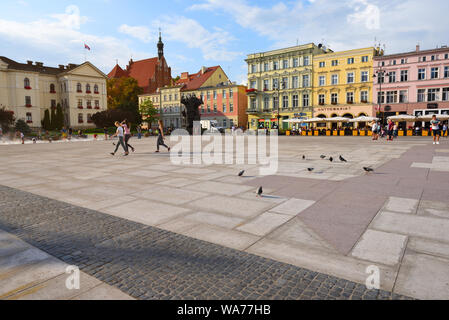 Bydgoszcz Poland - August 16, 2019: Old Market Square in Bydgoszcz with the colorful tenements - Stock Photo