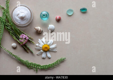 Flat view. Still life for spa. Green spikelets and plants, purple flowers, white with yellow daisy, colorful shells, glass and a jar of white cream. S - Stock Photo