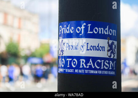 London UK. 18th August 2019.  An anti racism sticker outside   Stamford Bridge. Chelsea Football club has banned six supporters for life for the abuse of Manchester City player Raheem Sterling.  amer ghazzal/Alamy Live News - Stock Photo