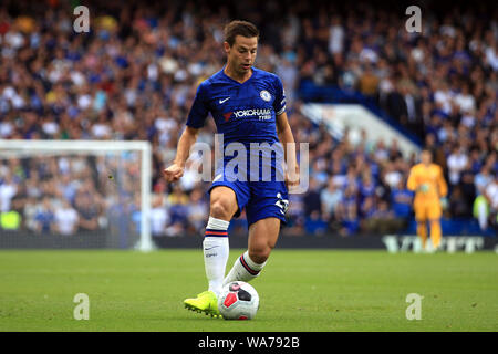 London, UK. 18 August 2019. Cesar Azpilicueta of Chelsea in action. Premier League match, Chelsea v Leicester City at Stamford Bridge in London on Sunday 18th August 2019.  this image may only be used for Editorial purposes. Editorial use only, license required for commercial use. No use in betting, games or a single club/league/player publications. Credit: Andrew Orchard sports photography/Alamy Live News - Stock Photo