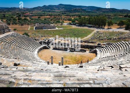 The Roman amphitheatre at Miletus near Ephesus Turkey - Stock Photo