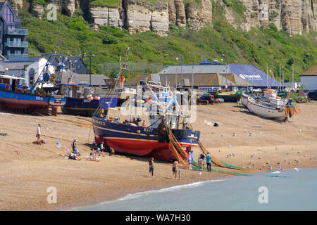 Hastings fishing boat being pulled up on the Old Town Stade fishing boat beach, people looking at discarded crabs caught in fishing nets, East Sussex, - Stock Photo
