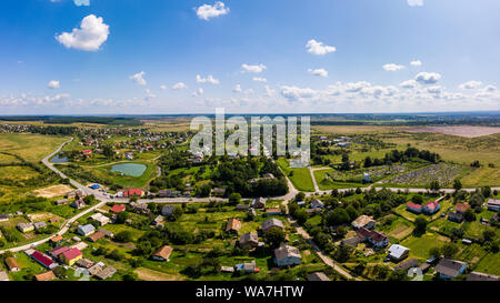 Aerial drone view of traditional Ukrainian village. Countryside it the west of Ukraine. - Stock Photo