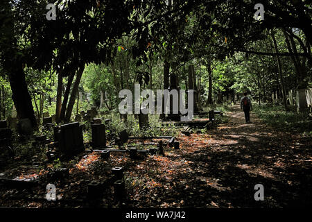A woman walks through Tower Hamlets Cemetery Park in east London. - Stock Photo