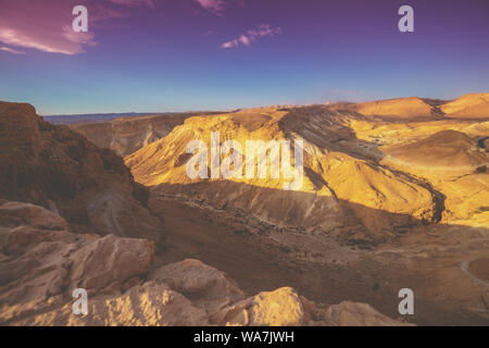 Mountain nature landscape. View of the valley from the mount. Desert in the early morning. The Judaean Desert. Landscape in Dead sea region. Nature Is - Stock Photo