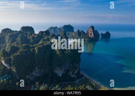 Aerial drone view of  popular travel tropical karst rocks perfect for climbing Tonsai Beach, Krabi province, Thailand