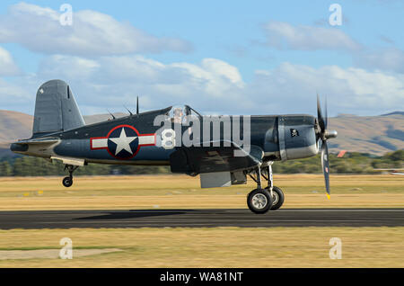 Vought F-4U Corsair fighter plane at Wings over Wairarapa airshow, Hood Aerodrome, Masterton, New Zealand. Second World War Goodyear FG-1 Corsair - Stock Photo