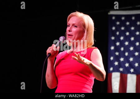 St. Louis, Missouri, USA. 18th Aug, 2019. Presidential Candidate Senator KIRSTEN GILLIBRAND speaks at a town hall meeting in St. Louis, Missouri 10 days before a new restrictive abortion bill becomes law. Credit: Steve Pellegrino/ZUMA Wire/Alamy Live News - Stock Photo