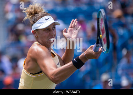 August 18, 2019, Mason, Ohio, USA: Madison Keys (USA) in action during the Women's Final of the Western and Southern Open at the Lindner Family Tennis Center, Mason, Oh. (Credit Image: © Scott Stuart/ZUMA Wire) - Stock Photo