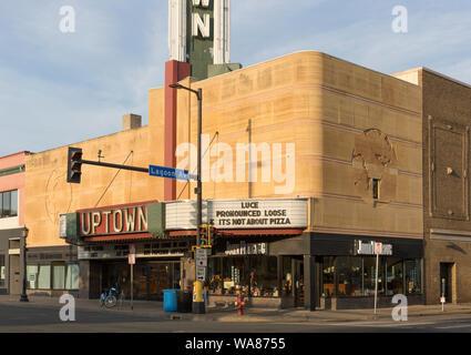 The Streamline Moderne Art Deco exterior of the 1939 Uptown Movie Theater in Minneapolis, Minnesota, USA - Stock Photo