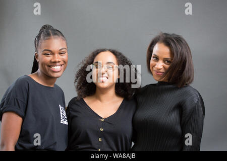 Edinburgh, Scotland, UK. 18th Aug, 2019. Edinburgh international Book festival 2019, Scotland. Poets Tania Nwachukwu, Hibaq Osman and Rachel Long, founder of Octavia poetry collective for women of colour, in response to the lack of representation in literature and academia. Since 2015, Octavia have read beyond the canon and written themselves on their own terms, coming together every month at the Southbank Centre. Credit: Pauline Keightley/Alamy Live News - Stock Photo