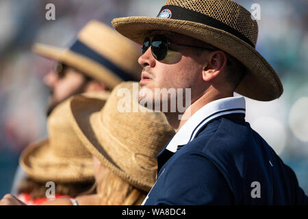 Mason, Ohio, USA. 18th Aug, 2019. Fans and hats in the stands during the Men's Final of the Western and Southern Open at the Lindner Family Tennis Center, Mason, Oh. Credit: Scott Stuart/ZUMA Wire/Alamy Live News - Stock Photo