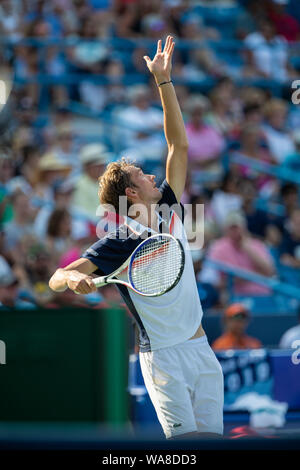 Mason, Ohio, USA. 18th Aug, 2019. Daniil Medvedev (RUS) serves during the Men's Final of the Western and Southern Open at the Lindner Family Tennis Center, Mason, Oh. Credit: Scott Stuart/ZUMA Wire/Alamy Live News - Stock Photo