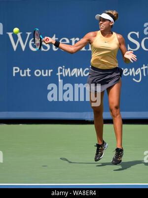 Mason, Ohio, USA. 18th Aug, 2019. August 18, 2019: Madison Keys (USA) defeated Svetlana Kuznetsova (RUS) 7-5, 7-6, at the Western & Southern Open being played at Lindner Family Tennis Center in Mason, Ohio. © Leslie Billman/Tennisclix/CSM Credit: Cal Sport Media/Alamy Live News - Stock Photo