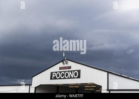 Long Pond, Pennsylvania, USA. 18th Aug, 2019. Pocono Raceway plays host to the rain shortened ABC Supply 500 in Long Pond, Pennsylvania. (Credit Image: © Colin J Mayr Grindstone Media/ASP) - Stock Photo