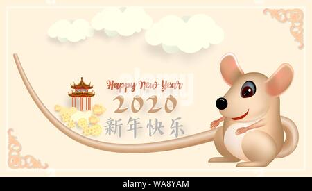 The Chinese new year 2020 greeting card with cute rat, zodiac sign, on light pink background. Vector illustration. - Stock Photo