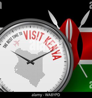 The Best Time to Visit Kenya. Travel to Kenya. Tourist Air Flight. Waving Flag Background and Dots Pattern Map on the Dial. Vector Illustration. - Stock Photo