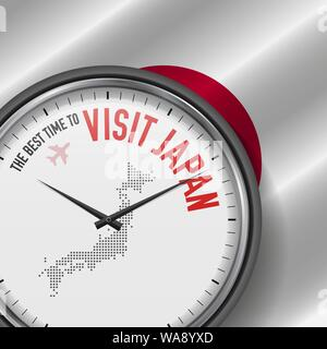 The Best Time to Visit Japan. Travel to Japan. Tourist Air Flight. Waving Flag Background and Dots Pattern Map on the Dial. Vector Illustration. - Stock Photo