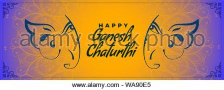 indian traditional happy ganesh chaturthi festival greeting - Stock Photo