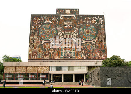 The Central Library (Biblioteca Central) on the campus of UNAM (the National Autonomous University of Mexico). Mexico City, Mexico, Jun 2019 - Stock Photo