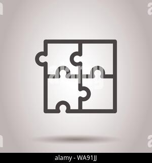 Puzzle compatible icon in flat style. Jigsaw agreement vector illustration on isolated background. Cooperation solution business concept. - Stock Photo