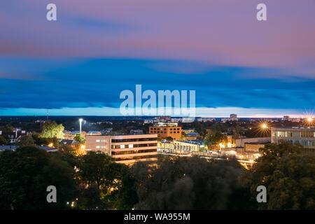 Tallinn, Estonia. Cityscape Skyline At Summer Evening Night. View From Patkuli Viewpoint. - Stock Photo