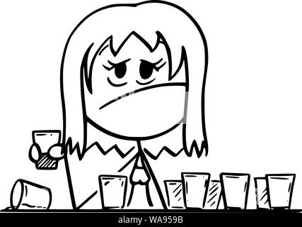 Vector cartoon stick figure drawing conceptual illustration of frustrated drunk woman sitting with many empty shot or short drinks glasses. - Stock Photo