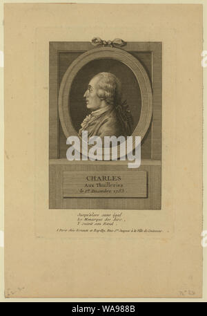Charles aux Thuilleries [i.e. Tuileries] le 1er decembre 1783; Head-and-shoulders profile portrait of French balloonist J.A.C. Charles, who made the first flight in a hydrogen balloon, Dec. 1, 1783. - Stock Photo