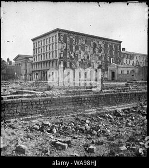 Charleston, S.C. The fire-scarred Mills House; Hibernian Hall at left Abstract: Selected Civil War photographs, 1861-1865 - Stock Photo