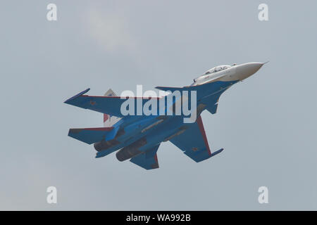 Langkawi, Malaysia - Mar 29, 2019. Su-30SM fighter jet belonging to the Russian Knights aerobatic demonstration team performing at Langkawi Airport (L - Stock Photo