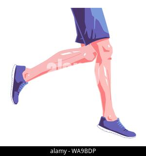 Runner legs flat illustration on isolated white background. Blue sneakers and clothes. Vector graphic design concept. - Stock Photo
