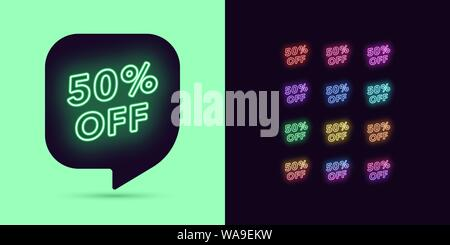 Neon Discount Tag, 50 Percentage Off. Special Offer Sale. Set of neon Price discount, colorful bundle. Bubble Message Template for your advertising de - Stock Photo