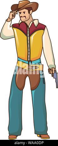 Cowboy icon, cartoon style