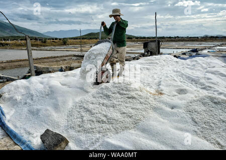 Nha Trang, Vietnam - August 16: Men organize salt into piles at the Hon Khoi salt fields on August 16, 2018 in Nha Trang, Vietnam. - Stock Photo