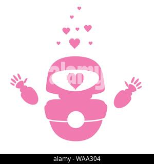 Pink silhouette cute white modern levitating robot raised hands and with pink heart love face flat vector illustration isolated on white background. - Stock Photo