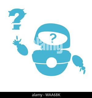 Blue silhouette cute white modern levitating robot waving hand and with question mark face flat vector illustration isolated on white background. - Stock Photo
