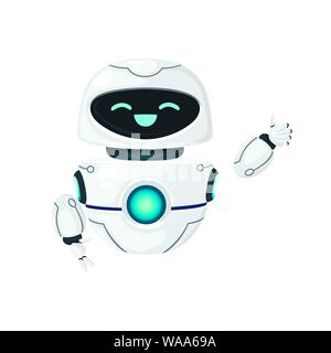 Cute white modern levitating robot waving hand and with happy face flat vector illustration isolated on white background. - Stock Photo