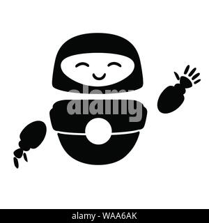 Black silhouette cute white modern levitating robot waving hand and with happy face flat vector illustration isolated on white background. - Stock Photo