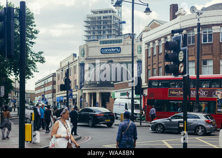 London/UK - July 16, 2019: The O2 Brixton Academy viewed from the Brixton Road. The O2 Academy is one of London's leading music venues, nightclubs and - Stock Photo