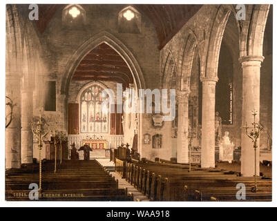 Church, interior, Ross-on-Wye, England; Forms part of: Views of the British Isles, in the Photochrom print collection.; More information about the Photochrom Print Collection is available at http://hdl.loc.gov/loc.pnp/pp.pgz; Title from the Detroit Publishing Co., Catalogue J-foreign section, Detroit, Mich.: Detroit Publishing Company, 1905.; Print no. 10945. - Stock Photo